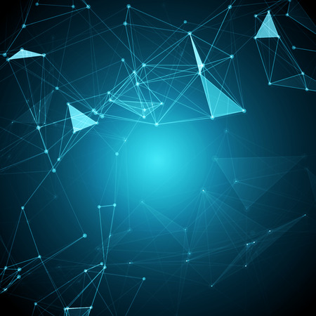 Abstract Polygonal Space Blue Background with Connecting Dots and Lines   Vector Illustration Vectores