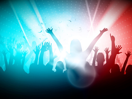 crowd happy people: Party People in Club  Vector Background Editable Design Illustration