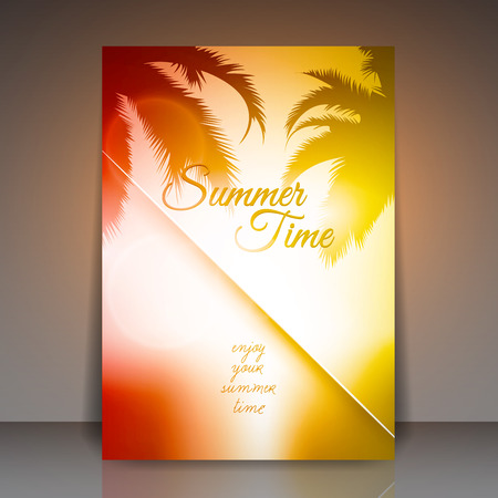 sunset tree: Summer Time Vector Flyer Background  Palm Tree Sunset