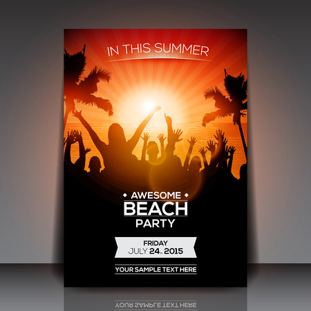 sunset tree: Summer Beach Party Flyer  Vector Design