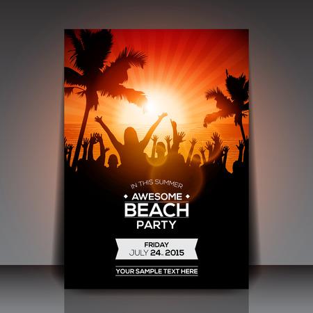 sensation: Summer Beach Party Flyer  Vector Design