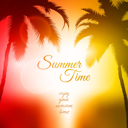 Summer Time Vector Background  Palm Tree Sunset Vector