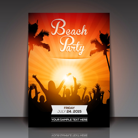 sexy girls party: Summer Beach Party Flyer  Vector Design