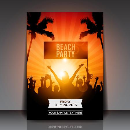 hand beats: Summer Beach Party Flyer  Vector Design