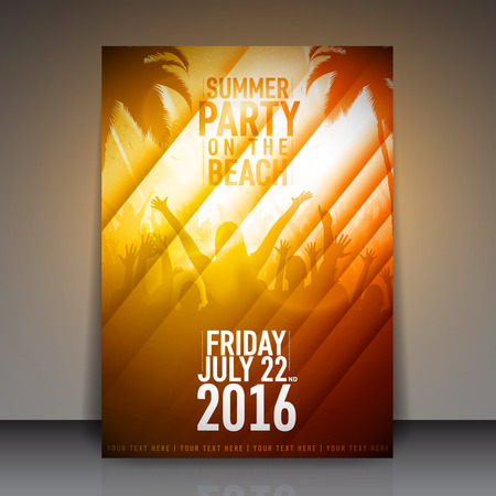 people silhouette: Summer Beach Party Flyer - Vector Design Template