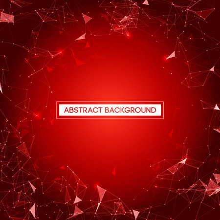 red abstract: Abstract Red Background with Space Polygonal Connecting Dots and Lines Vector Illustration