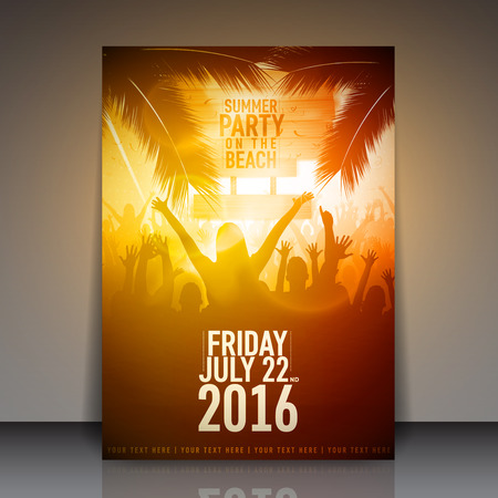tree disc: Summer Beach Party Flyer - Vector Design Template