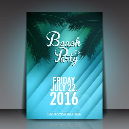 palm trees: Summer Beach Party Flyer - Vector Design Template