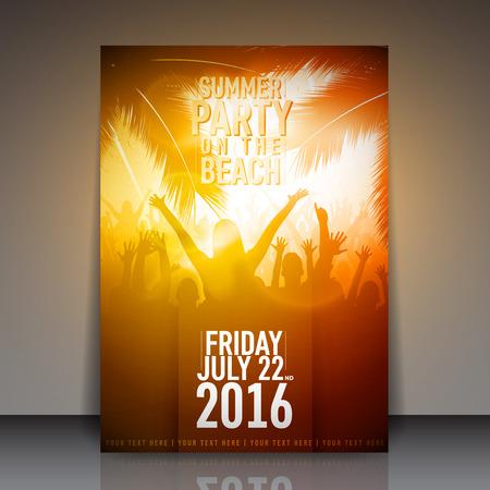 여름 해변 파티 전단 - 벡터 디자인 템플릿