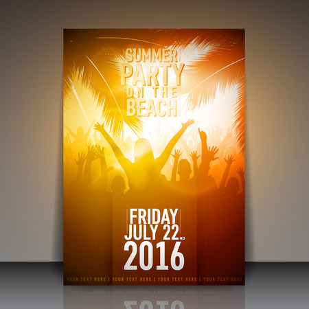beach party people: Summer Beach Party Flyer - Vector Design Template