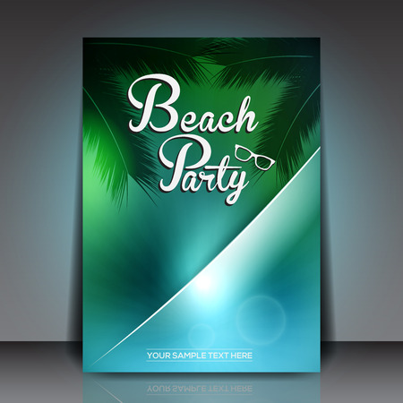 caribbean beach: Summer Beach Party Flyer - Vector Design Template