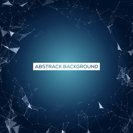 abstract background vector: Space Blue Abstract Background with Polygonal Connecting Dots and Lines Vector Illustration