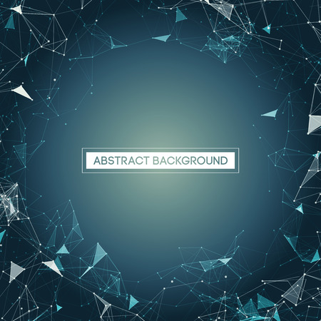 abstract business: Space Blue Abstract Background with Polygonal Connecting Dots and Lines Vector Illustration