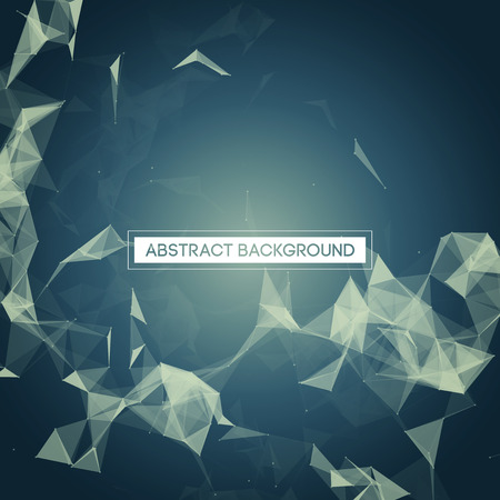 connect: Space Blue Abstract Background with Polygonal Connecting Dots and Lines Vector Illustration EPS10