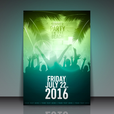 beach sunset: Summer Beach Party Flyer - Vector Design Template