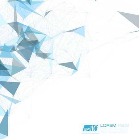 Space Blue Abstract Background with Polygonal Connecting Dots and Lines