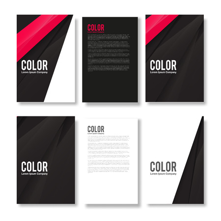 pink and black: Minimal Set of Modern Abstract Flyers - Brochure Design Templates