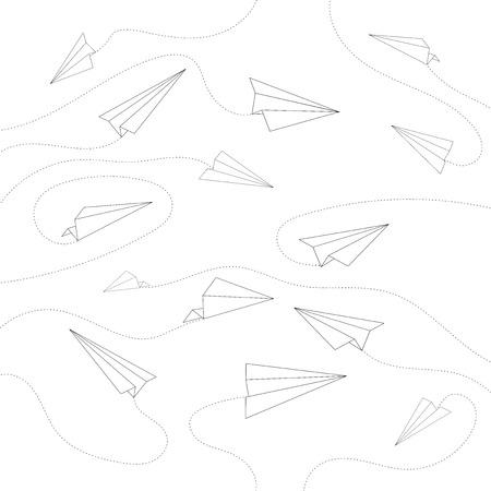 Minimal Flying Airplane Line Art Design Background