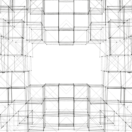 perspectiva lineal: Abstract 3D Cube Frame Vector Background | Creative Line Art