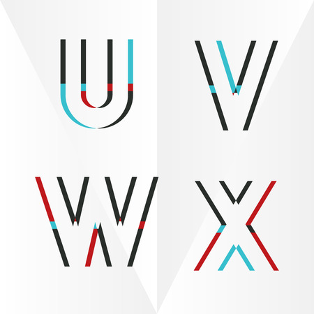 vibrant colors: Abstract Typographic Alphabet in a Vector Set | Contains Vibrant Colors and Minimal Design