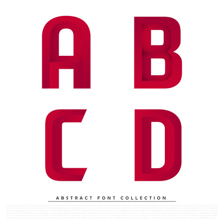 vibrant colors: Abstract Red Typographic Alphabet in a Vector Set | Contains Vibrant Colors and Minimal Design