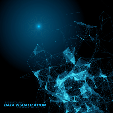 Abstract Background with 3D Data Visualization Connecting Dots and Lines | EPS10 Vector Illustration 矢量图片