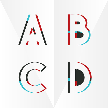 Abstract Typographic Alphabet in a Vector Set | Contains Vibrant Colors and Minimal Design