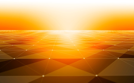 background information: Polygonal Space Abstract Background with Orange Low Poly Connecting Dots and Lines - Connection Structure - Futuristic HUD Background Stock Photo