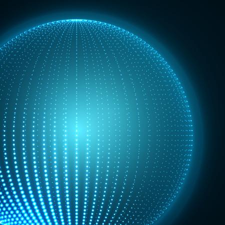 blue sphere: Blue Sphere - Abstract Globe Grid - Futuristic Design Illustration