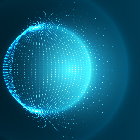 Blue Sphere - Abstract Globe Grid.