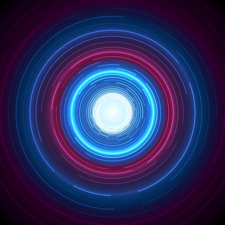 Abstrakter blauer und roter runder Kreis-Entwurf.