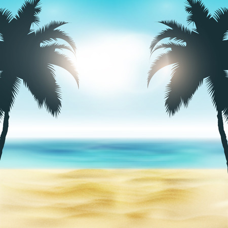 caribbean beach: Paradise Beach Illustration | Sand and Palm Trees | Tropical Sea with Bright Sun