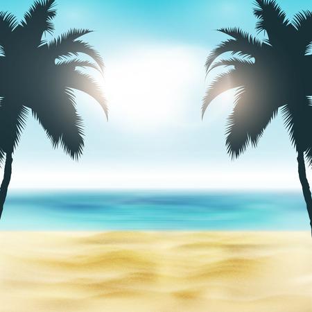 Paradies-Strand-Illustration | Sand und Palmen | Tropisches Meer mit heller Sonne