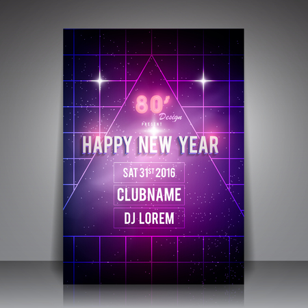 new year party: 80s Style Happy New Year Flyer - Retro Party Poster.