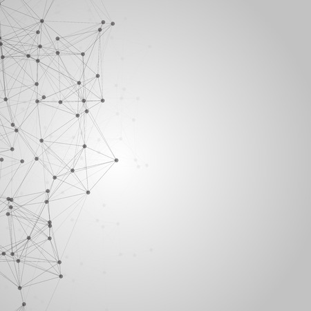 medical technology: Black and White Abstract Polygonal Space   Black with Connecting Dots and Lines   Futuristic Illustration