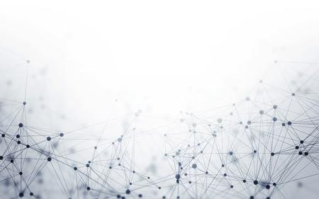 Fond blanc 3D polygonal abstrait avec des points et des lignes de connexion à faible teneur en polypropylène - Structure de connexion - Fond d'écran HUD futuriste Banque d'images - 68601207