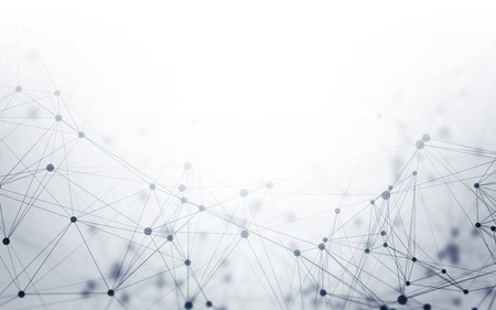 Abstract 3D Polygonal White Background with Low Poly Connecting Dots and Lines - Connection Structure - Futuristic HUD Background