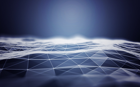 Polygonal Space Abstract Blue Background with Low Poly Connecting Dots and Lines - Connection Structure - Futuristic HUD background Zdjęcie Seryjne
