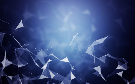 crystal background: Polygonal Space Abstract Blue Background with Low Poly Connecting Dots and Lines - Connection Structure - Futuristic HUD background Stock Photo