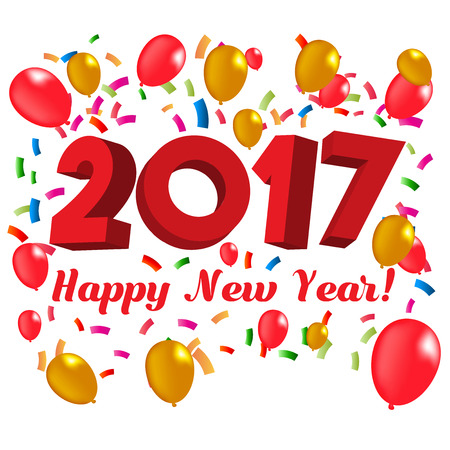 2017 Happy New Year Text with Confetti and Ballons | Vector Illustration