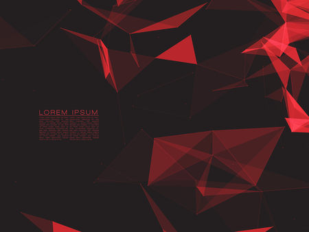 shiny background: Polygonal Space Abstract Background with Dark Red Connecting Dots and Lines