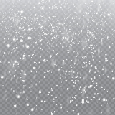 snow background: Falling Snow with Snowflakes on Transparent Background | Winter Snowfall Vector Illustration