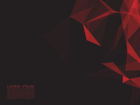 Polygonal Space Abstract Background with Dark Red Connecting Dots and Lines
