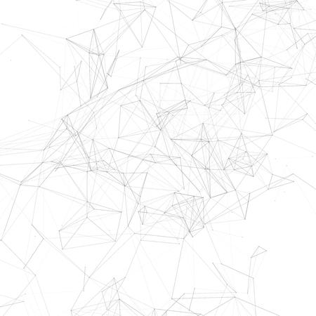 Espace polygonal abstrait noir et blanc | Fond blanc avec des points et des lignes de connexion noirs | Illustration vectorielle futuriste