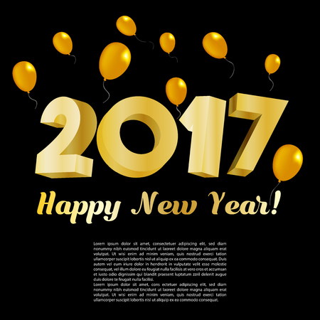 shiny background: Happy New Year 2017 Gold Card