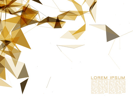Gold Abstract Shapes on White Background
