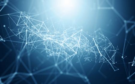 Streszczenie niebieskim tle z miejsca Łamana Łączenie kropek i linii   Sieciowe - Wizualizacja danych Ilustracja