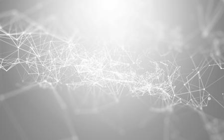 Abstracte 3D Polygonale Witte Achtergrond Met Lage Poly Verbindpunten En Lijnen - Verbinding Structuur - Futuristische HUD Achtergrond Stockfoto