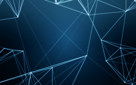 Abstract Blue Background with Space Polygonal Connecting Dots and Lines | Network - Data Visualization Illustration