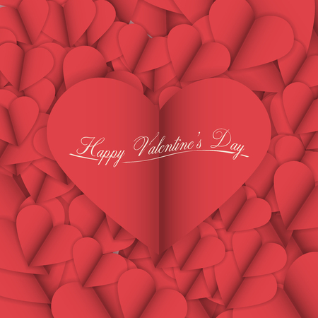 red wallpaper: Valentines Day Vector Illustration | Cut Paper Abstract Background with Heart Illustration